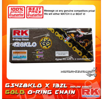 RK O-RING CHAIN GS428KLO X 132L GOLD PLATED (OUTER LAYER ONLY)