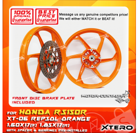 XTERO SPORT RIM W/FR DISC BRAKE PLATE XT-06 1.60X17(F) 1.85X17(R) RS150R ORANGE