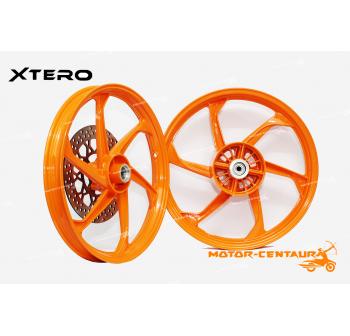 XTERO SPORT RIM W/FR DISC BRAKE PLATE XT-06 1.60X17(F) 1.85X17(R) RS150R ORANGE