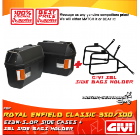 GIVI E23N-S-OR SIDE CASES + GIVI ROYAL ENFIELD CLASSIC 350/500 SIDEBAG HOLDER
