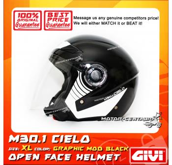 GIVI JET HELMET M30.1 CIELO XL GRAPHIC MOD BLACK