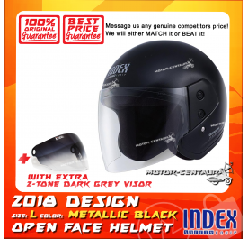 INDEX HELMET METALLIC BLACK + 2-TONE DARK GREY VISOR
