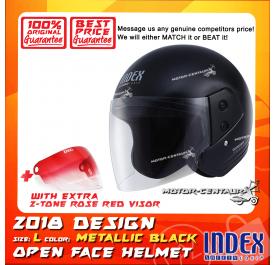 INDEX HELMET METALLIC BLACK + 2-TONE ROSE RED VISOR