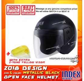 INDEX HELMET METALLIC BLACK + 2-TONE YELLOW VISOR