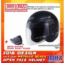 INDEX HELMET METALLIC BLACK + DARK GREY VISOR