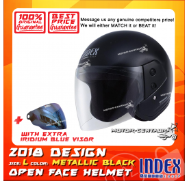 INDEX HELMET METALLIC BLACK + IRIDIUM BLUE VISOR