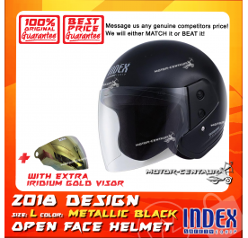 INDEX HELMET METALLIC BLACK + IRIDIUM GOLD VISOR