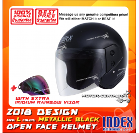 INDEX HELMET METALLIC BLACK + IRIDIUM RAINBOW VISOR