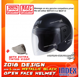 INDEX HELMET METALLIC BLACK + TINTED VISOR