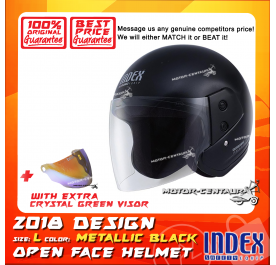 INDEX HELMET METALLIC BLACK + CRYSTAL GREEN VISOR
