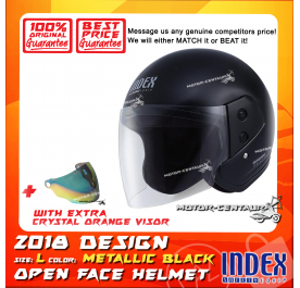 INDEX HELMET METALLIC BLACK + CRYSTAL ORANGE VISOR