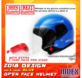 INDEX HELMET BLUE + 2-TONE ROSE RED VISOR