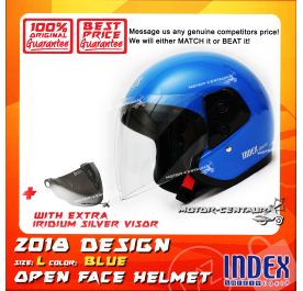 INDEX HELMET BLUE + IRIDIUM SILVER VISOR