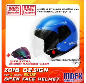 INDEX HELMET BLUE + IRIDIUM RAINBOW VISOR