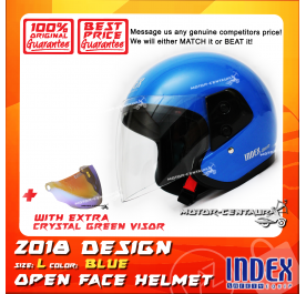 INDEX HELMET BLUE + CRYSTAL GREEN VISOR