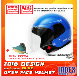 INDEX HELMET BLUE + CRYSTAL ORANGE VISOR