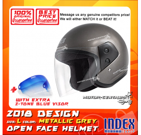 INDEX HELMET METALLIC GREY + 2-TONE BLUE VISOR
