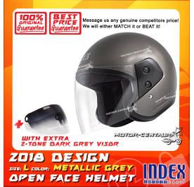 INDEX HELMET METALLIC GREY + 2-TONE DARK GREY VISOR