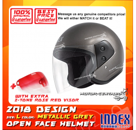 INDEX HELMET METALLIC GREY + 2-TONE ROSE RED VISOR