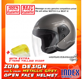 INDEX HELMET METALLIC GREY + 2-TONE YELLOW VISOR