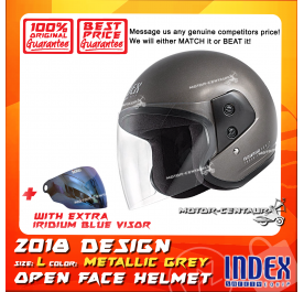 INDEX HELMET METALLIC GREY + IRIDIUM BLUE VISOR