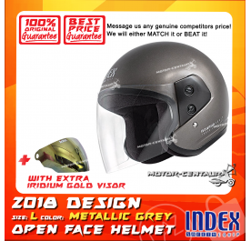 INDEX HELMET METALLIC GREY + IRIDIUM GOLD VISOR