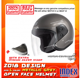 INDEX HELMET METALLIC GREY + IRIDIUM SILVER VISOR