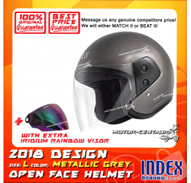 INDEX HELMET METALLIC GREY + IRIDIUM RAINBOW VISOR