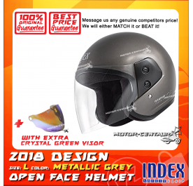 INDEX HELMET METALLIC GREY + CRYSTAL GREEN VISOR
