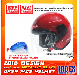 INDEX HELMET RED + 2-TONE BLUE VISOR