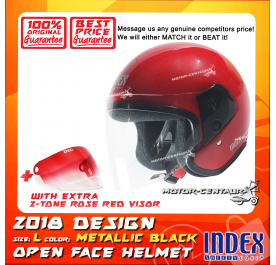 INDEX HELMET RED + 2-TONE ROSE RED VISOR