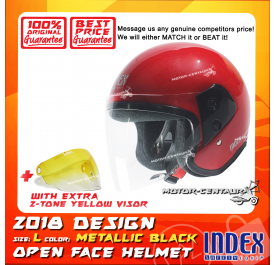 INDEX HELMET RED + 2-TONE YELLOW VISOR