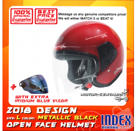INDEX HELMET RED + IRIDIUM BLUE VISOR