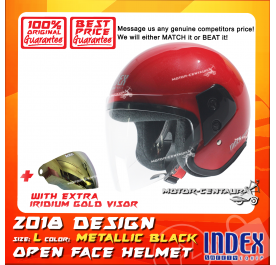INDEX HELMET RED + IRIDIUM GOLD VISOR
