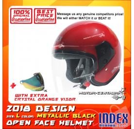 INDEX HELMET RED + CRYSTAL ORANGE VISOR