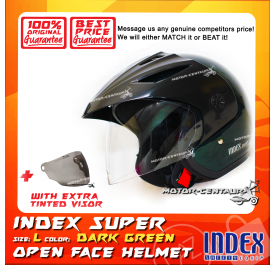 INDEX SUPER HELMET DARK GREEN + TINTED VISOR