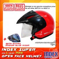 INDEX SUPER HELMET RED + IRIDIUM BLUE VISOR