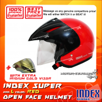 INDEX SUPER HELMET RED + IRIDIUM GOLD VISOR