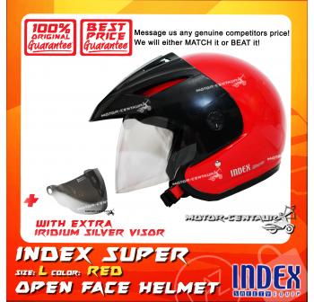 INDEX SUPER HELMET RED + IRIDIUM SILVER VISOR