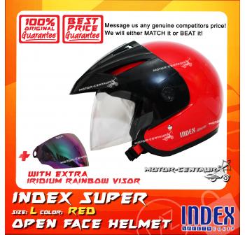 INDEX SUPER HELMET RED + IRIDIUM RAINBOW VISOR