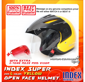 INDEX SUPER HELMET YELLOW + 2-TONE ROSE RED VISOR