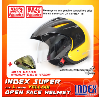 INDEX SUPER HELMET YELLOW + IRIDIUM GOLD VISOR