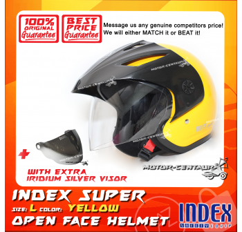 INDEX SUPER HELMET YELLOW + IRIDIUM SILVER VISOR