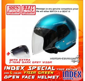 INDEX SPECIAL HELMET Y15ZR TURQUOISE GREEN + 2-TONE DARK GREY VISOR
