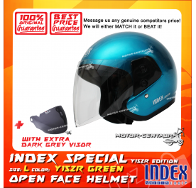 INDEX SPECIAL HELMET Y15ZR TURQUOISE GREEN + DARK GREY VISOR