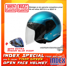INDEX SPECIAL HELMET Y15ZR TURQUOISE GREEN + IRIDIUM BLUE VISOR