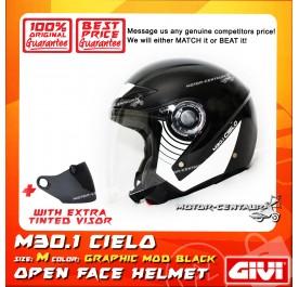 GIVI JET HELMET M30.1 CIELO M GRAPHIC MOD BLACK + TINTED VISOR