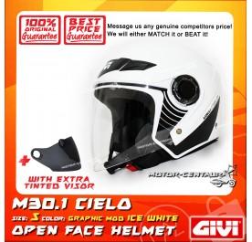 GIVI JET HELMET M30.1 CIELO S GRAPHIC MOD ICE WHITE + TINTED VISOR