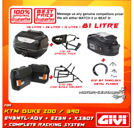 GIVI TOTAL 81 LITRE CASES SET FOR KTM DUKE 200 / 390 (BEFORE 2018 VERSION)