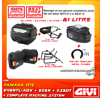 GIVI TOTAL 81 LITRE CASES SET FOR YAMAHA YZF R15